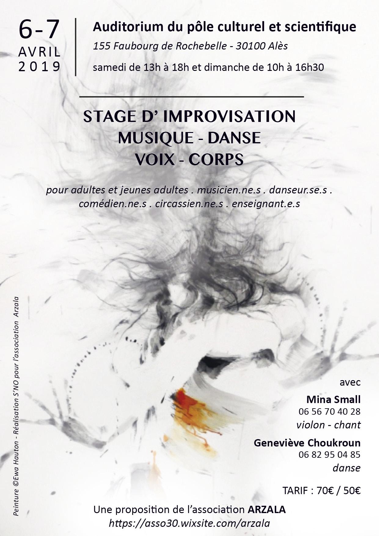 Stage d'improvisation danse musique - Asso Arzala - 6-7.04.2019