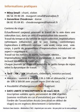 Flyer V° - Stage d'improvisation danse musique - Asso Arzala - 6-7.04.2019