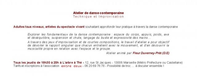 Flyer V° - Ateliers de danse Marseille - Asso Entre Deux - 2007