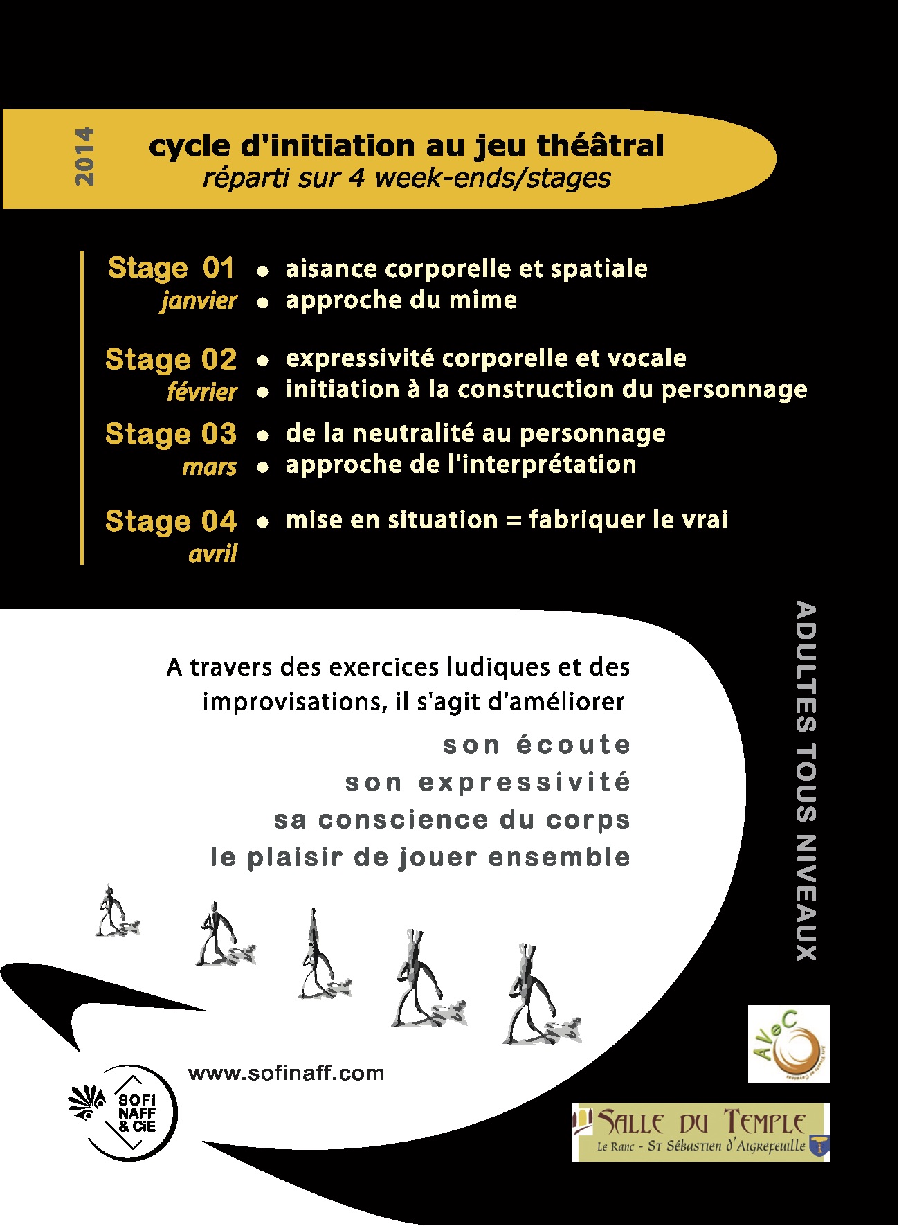 Flyer V° - Week-ends Stages Théâtre - Asso [Sofi Naff & Cie] - 2014
