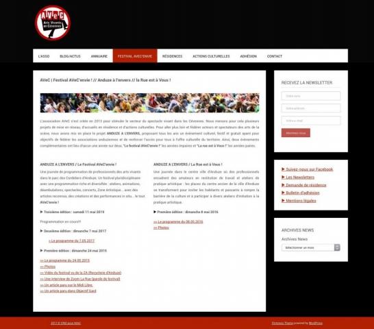 Site - Asso AVeC • Arts Vivants en Cévennes - Page Festival